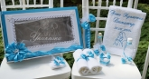 Комплект в тюркоазено синьо с ангели за Кръщене