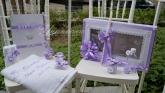 Украсен комплект в лилаво и ангелчета за Кръщене