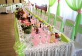 Сватбена украса в зелено и розово
