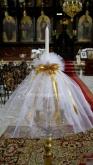 Украсена свещ за Кръщене в златно