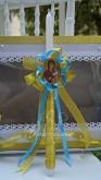 Украсена свещ за Кръщене в златно и синьо