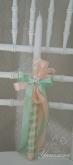 Украсена свещ за Кръщене в розово и резеда