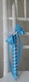 Украсена свещ за Кръщене в светло синьо